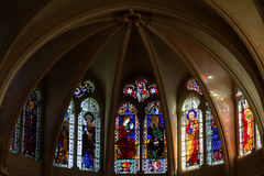 Цветное стекло собора Свят-Джина в Лионе стоковое фото