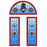 Цветное стекло сдобрило комплект двери бесплатная иллюстрация