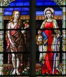 Цветное стекло Eve и Юдифь Стоковое Фото