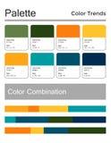 Цветовая палитра, гармоничная комбинация, коды и имена Цвета моды для использования в сети, одеждах, интерьерах и тканях иллюстрация вектора