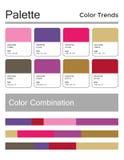 Цветовая палитра, гармоничная комбинация, коды и имена Цвета моды для использования в сети, одеждах, интерьерах и тканях иллюстрация штока