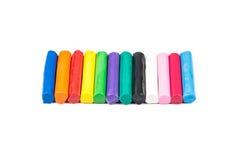 12 цветов комплекта глины моделирования Стоковые Изображения