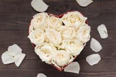 Цветок белых роз в коробке сердца Стоковое Изображение
