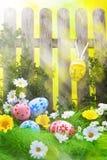 Цветок весны карточки загородки предпосылки пасхального яйца искусства Стоковые Фотографии RF