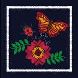Цветок вышивки и орнамент ladybug бабочки для цветочного узора Стоковая Фотография RF