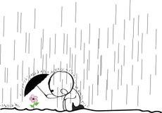 Цветок в дожде Стоковая Фотография