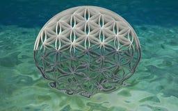 Цветок жизни в океане иллюстрация штока