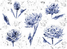 Цветок и акварель большая пара Стоковое Изображение