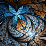 Цветок или бабочка фрактали сини и золота Стоковая Фотография RF