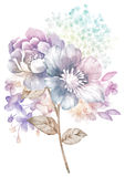 Цветок иллюстрации акварели в простой предпосылке иллюстрация штока