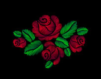 Цветок иллюстрации моды вышивки красных роз нарисованный рукой Стоковое Фото