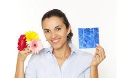 цветок клетки солнечной женщиной Стоковое Изображение