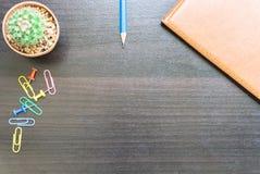 Цветок, книга, и красочные карандаши Взгляд сверху с космосом экземпляра Стоковая Фотография