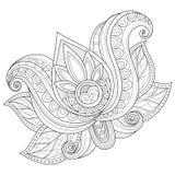 Цветок контура вектора красивый Monochrome Стоковое Изображение