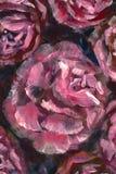 Цветок конца-вверх картины маслом Макрос крупного плана пиона больших красных фиолетовых цветков розовый на холсте Современный им иллюстрация вектора