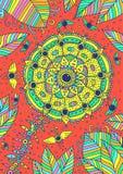 Цветок, листья, мухы и небо - фантастическое психоделическое backround иллюстратор иллюстрации руки чертежа угля щетки нарисованн иллюстрация вектора