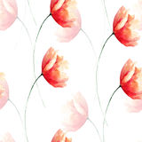 Цветок мака безшовной картины красный Стоковое Изображение