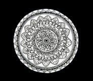 Цветок мандалы черно-белый Стоковое Изображение RF