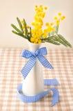 Цветок мимозы в вазе с голубой лентой Стоковая Фотография RF