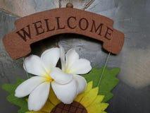 Цветок на положительном знаке Стоковые Изображения RF