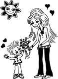 цветок дня дает матям сынка мумии к Бесплатная Иллюстрация