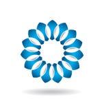 Цветок логотипа абстрактный голубой Стоковое фото RF