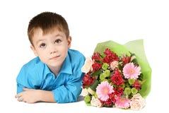 цветок одно мальчика букета Стоковые Фотографии RF