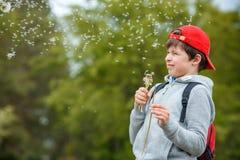 Цветок одуванчика счастливого ребенка дуя outdoors Мальчик имея парк потехи весной Запачканная зеленая предпосылка стоковая фотография