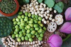 Цветок лотоса собрания, семя, чай, здоровая еда Стоковое Фото