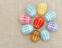 Цветок от пасхальных яя одел в кружевном пестротканом cl Стоковые Изображения RF