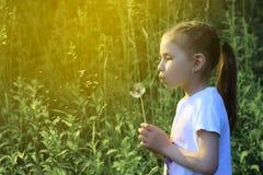 Цветок одуванчика красивого ребенка дуя отсутствующий весной Стоковое Фото