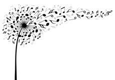 Цветок одуванчика музыки, вектор Стоковое Изображение