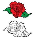 Цветок Розы в стиле татуировки Стоковое Изображение