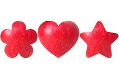 Цветок, сердце и звезда сформировали половины яблока Стоковые Изображения