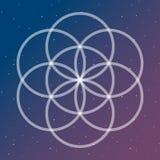 Цветок символа жизни на космический блокировать объезжает sac космоса иллюстрация штока