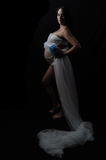 Цветок сини ткани беременной дамы прозрачный Стоковые Изображения RF