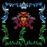 Цветок стилизованной славянской картины красный на черной предпосылке Славянский орнамент Картина для текстур Фольклорная картина иллюстрация штока