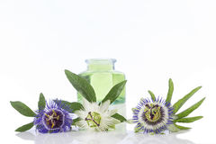 Цветок страсти с бутылкой эфирного масла ароматерапии голубой и коричневой стеклянной стоковые изображения