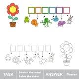 Цветок Слово спрятанное находкой Задача и ответ Стоковые Изображения RF