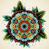 Цветок татуировки старой школы Стоковое фото RF