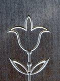Цветок тюльпана высек на деревянной поверхности, Литве стоковая фотография