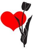 Цветок тюльпана силуэта иллюстрация вектора
