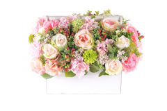 Цветок украшения искусственный пластичный с винтажной корзиной дизайна Стоковое фото RF