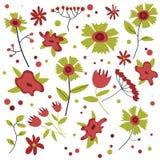 Цветок установил с красным и зеленым цветом бесплатная иллюстрация