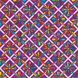 Цветок 8 формы диаманта окаймляет красочную безшовную картину Стоковое Фото