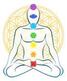 Цветок человека Chakras жизни иллюстрация вектора