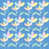 Цветок Colorfull с бабочкой и polkadot иллюстрация штока