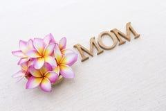 Цветок Plumeria и текст мамы деревянный на предпосылке холста Стоковые Фотографии RF