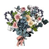 Цветочная композиция вектора венчание переднего плана фокуса 3 букетов Английские розы, евкалипт, хлопок и succulents