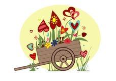 Цветочная композиция от сердец в тележке на желтом цвете Иллюстрация штока